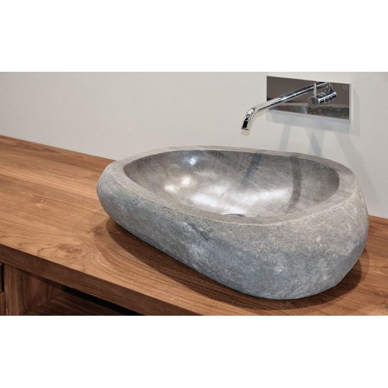 Idi studio river stone lavabo irregolare in pietra naturale 45x40x15 compra idi studio lavabo - Lavabo in pietra per bagno ...